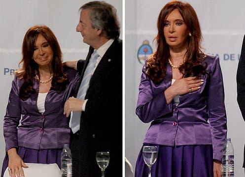 Para el acto inaugural del Centro Cultural del Bicentenario, Cristina se inclinó por el violeta, uno de sus colores preferidos. Su conjunto, una chaqueta de satén y falda con tableado soleil. Foto: LA NACION y agencias