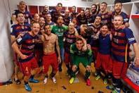 Así fue el festejo íntimo de Barcelona en el vestuario