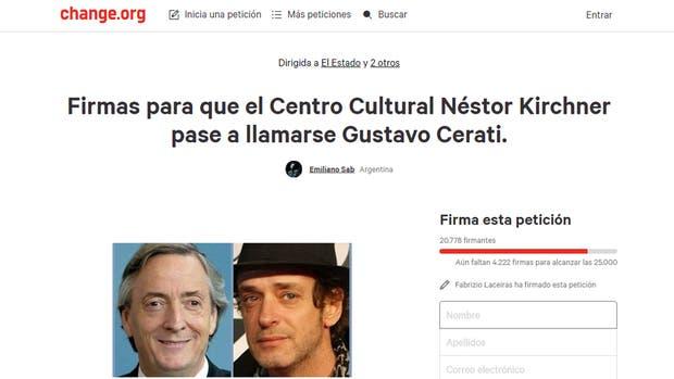 Juntan firmas para que el CCK se llame Centro Cultural Gustavo Cerati