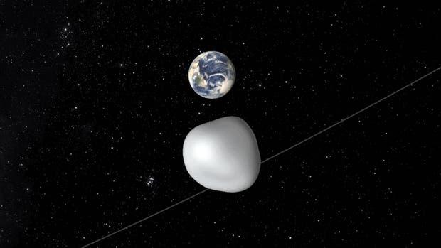 Captura de una animación realizada por la NASA del asteroide 2012 TC4, que hoy pasará cerca de la Tierra; servirá a científicos para simular ejercicio de defensa