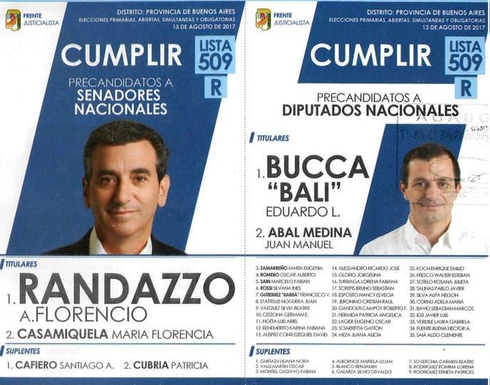 Las boletas de todos los candidatos en la provincia de Buenos Aires.