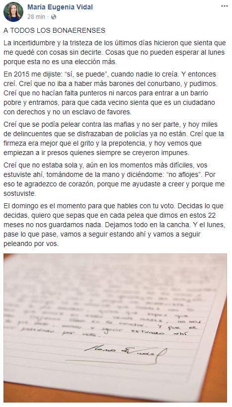 La gobernadora compartió la carta en su cuenta de Facebook