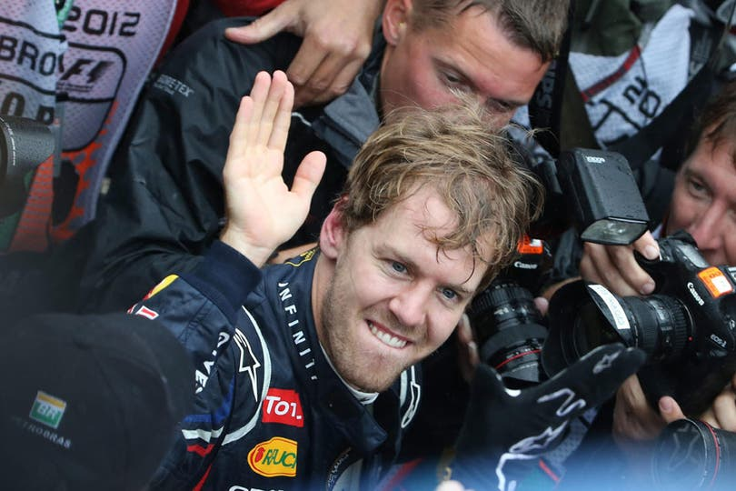 El festejo de Vettel. Foto: AFP