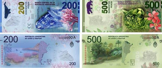 Así serán los billetes de 200 y 500 pesos, según las ilustraciones que anticipó el BCRA