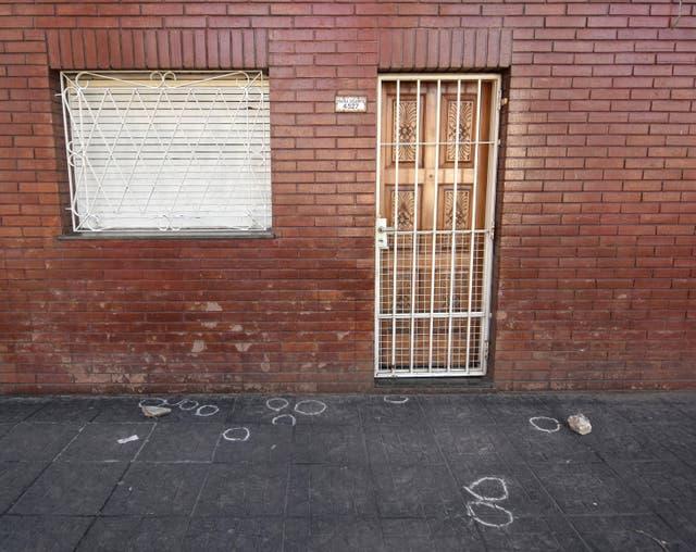 Las marcas de las vainas servidas, en la escena del crimen