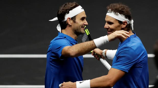 La celebración entre Federer y Nadal