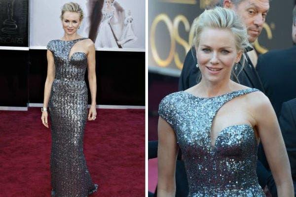 Naomi Watts eligió también un vestido al cuerpo con mucho brillo y escote asimétrico. Un diseño de Armani Prive.. Foto: Reuters