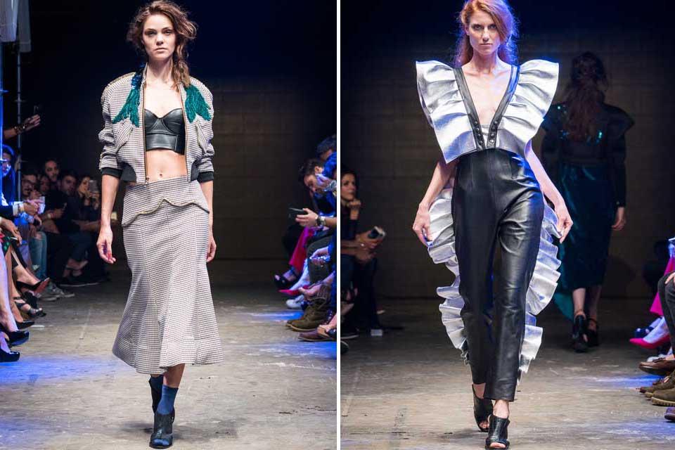 Alexia Ulibarri aportó mucho cuero con telas pesadas pero a su vez con diseños que aportaban movimiento. Un plus: los detalles con volados. Foto: gentileza Prensa