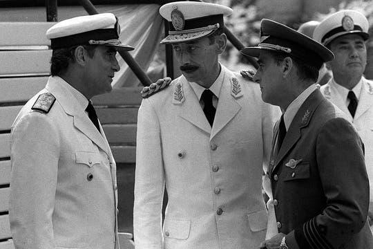 Videla junto a Massera y Agosti, en una imagen de marzo de 1976. Foto: Archivo