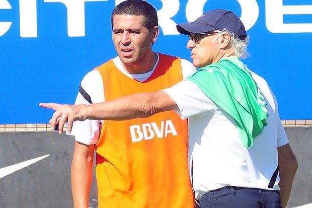 Bianchi junto a Román, en el entrenamiento de esta mañana