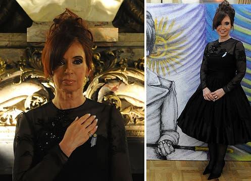 Rápido cambio de vestuario para la cena en la Casa Rosada: vestido negro con falda muy acampanada y canesú con transparencias y bordados; el cabello, semirecogido y batido. Foto: LA NACION y agencias