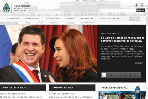 Página web oficial de la Presidencia de la Nación