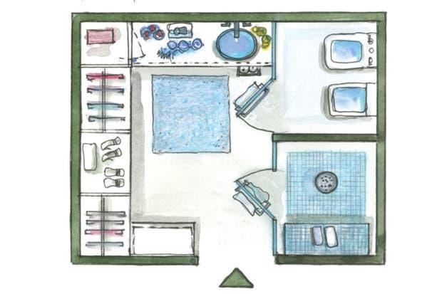 Baños Modernos Con Vestidor:La diseñadora Eugenia Landaboure creó el baño y el vestidor como