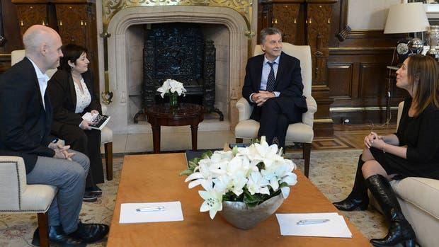 Larreta, Ocaña, Macri y Vidal, durante la reunión en la Casa Rosada