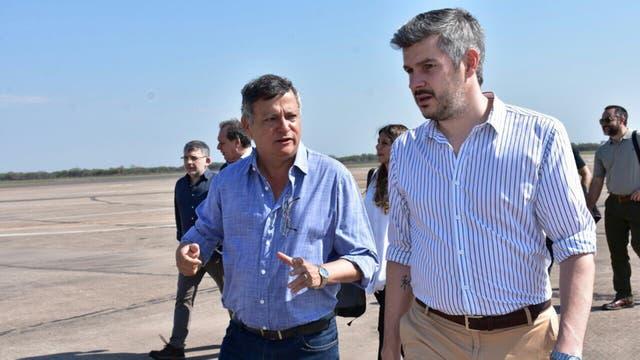 El jefe de Gabinete, Marcos Peña, arribó esta mañana a Chaco donde fue recibido por el gobernador, Domingo Peppo, para asistir al acto de inauguración del Parque Nacional El Impenetrable, en el paraje La Armonía.