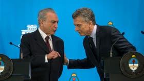 El 3 de octubre, poco después de hacerse cargo de la presidencia de Brasil, Michel Temer visitó la Argentina y se reunió con Macri en Olivos