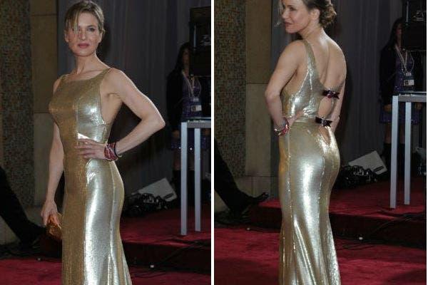 Doradas, en composé con el Oscar, la actriz Renée Zelwegger, con un modelo bien ajustado. Foto: AFP