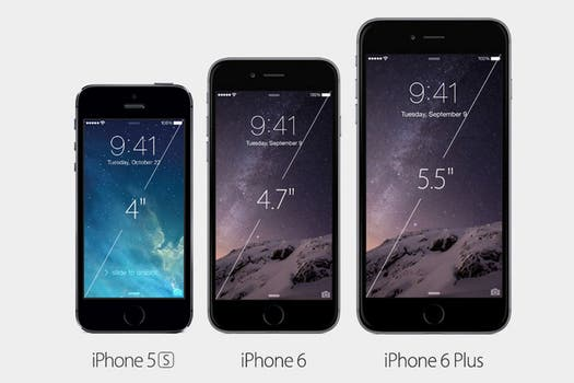 Las pantallas del iPhone 6 y iPhone 6 Plus, comparados con el iPhone 5S.