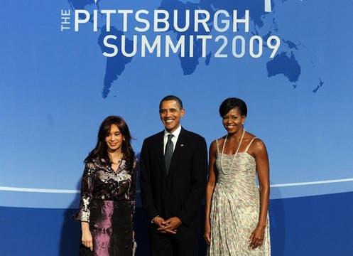 La Presidenta,junto a Barack y Michele Obama.. Foto: EFE