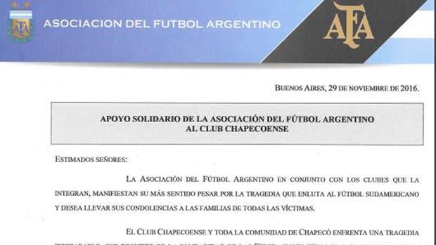 La carta de la AFA apoyando al club brasileño
