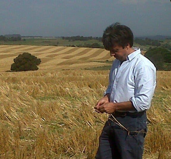 Marcelo Torres, con un rastrojo de trigo