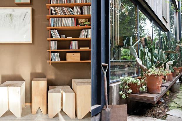 La biblioteca de lapacho y cerejeira está bien provista de su música favorita. El jardín, con cactus y crasas, no escapa a su criterio claramente definido..