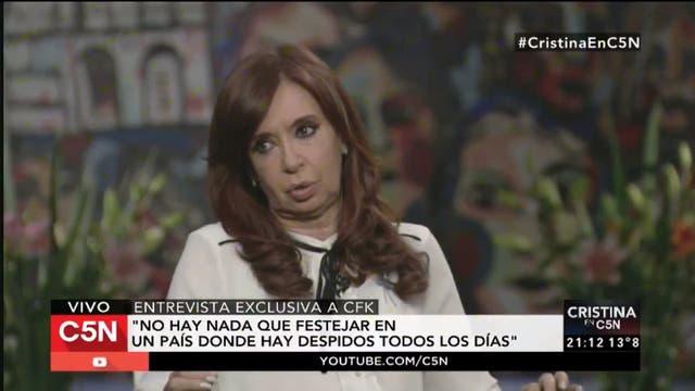 Cristina Kirchner en una entrevista con C5N.