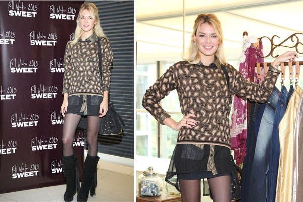 Flor Salvioni fue a conocer la colección de Sweet con un look muy trendy: sweater de animal print, maxi camisa con transparencias, mini negra bien al cuerpo y botas de caña alta con flecos. Foto: MK Comunicación