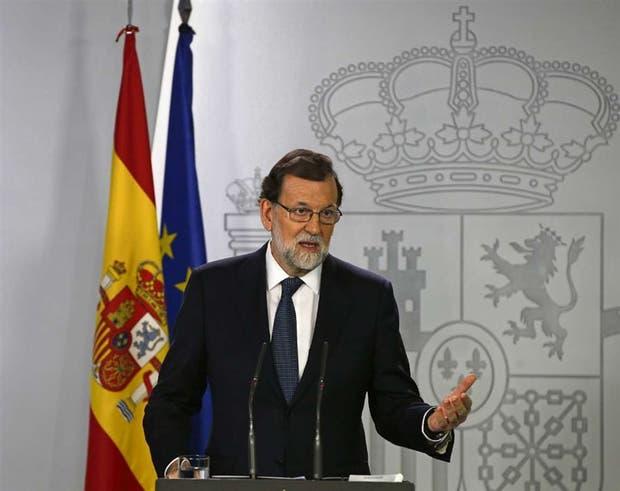 Rajoy, ayer, durante su comparecencia en el Palacio de la Moncloa
