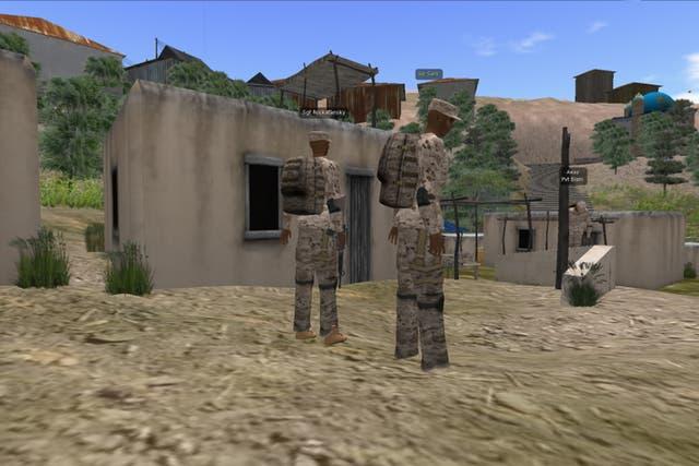 Una vista del entorno virtual, similar al utilizado en su momento por Second Life, desarrollado de forma conjunta por Intel y el ejército de EE.UU.