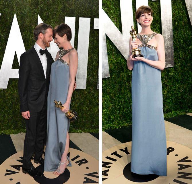 Anne Hathaway, ganadora del premio a la mejor actriz de reparto por Los Miserables, cambió su look para la fiesta de Vanity Fair. Foto: /Getty Images