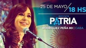 Cristina Kirchner convocó a la militancia al instituto Patria