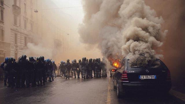Manifestación de Black bloc en Milán, Italia