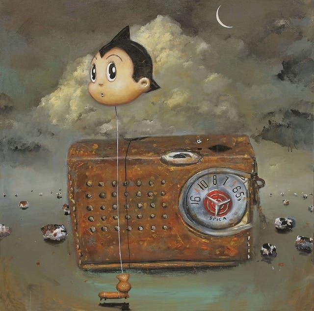 $ 15.000 La expulsión del paraíso II Acrílico sobre tela, del artista tucumano Pablo Iván Ríos, de 85x85cm, de 2017.