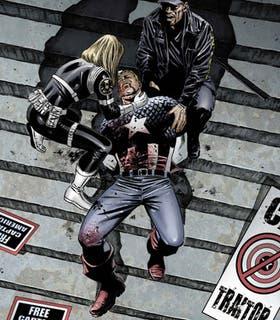 La imagen provista por Marvel Comics donde el Capitán América muere