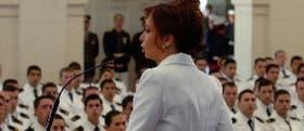 La presidenta Cristina Kirchner, en un encuentro previo con las Fuerzas Armadas