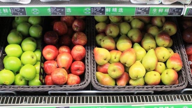 Frutas en un supermercado chino