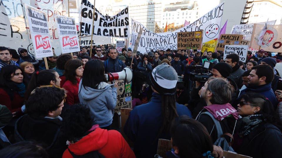 Se decide levantar el corte en el Obelisco. Foto: LA NACION / Emiliano Lasalvia