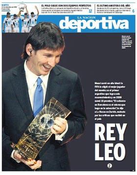 La tapa del suplemento de Deportes de LA NACION el día que la FIFA consagró a Messi como el mejor del mundo