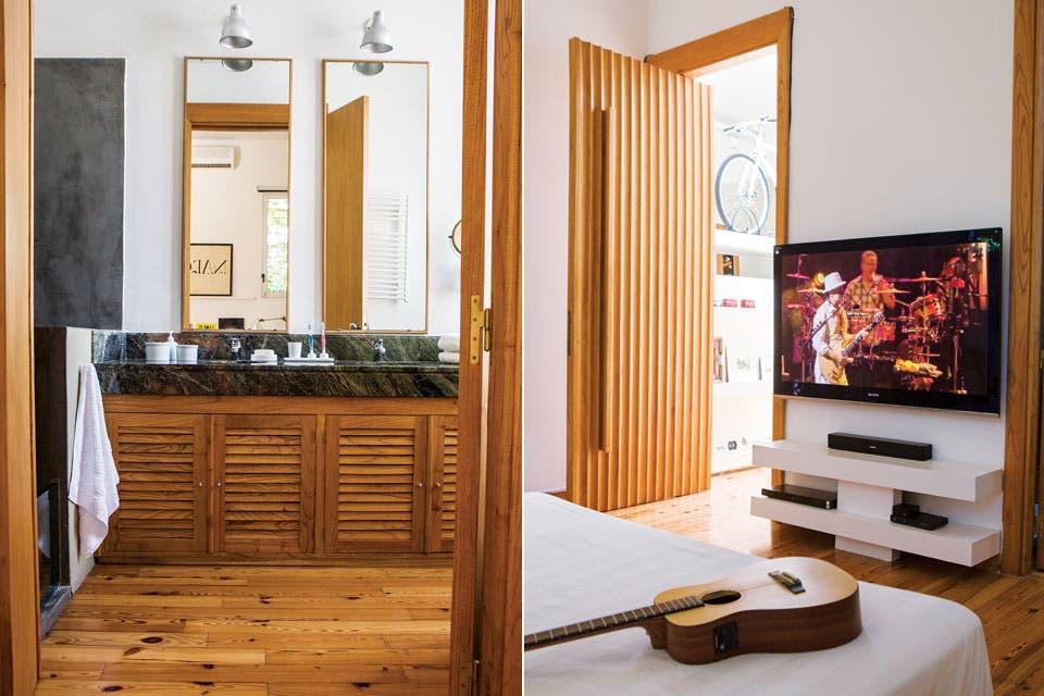 Para el baño, mesada de mármol 'Verde bosque' con doble bacha, espejos y lámparas amuradas.  Foto:Living /Santiago Ciuffo