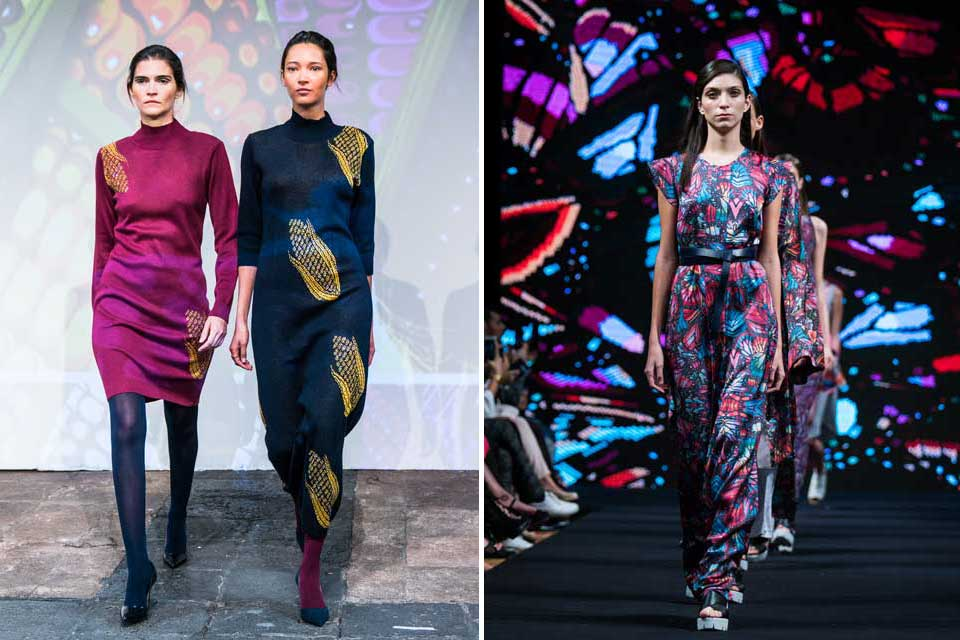 Pineda Covalin presentó un invierno en vestidos: tanto al estilo de maxi sweters como con telas más frescas y entalladas a la cintura. Foto: gentileza Prensa