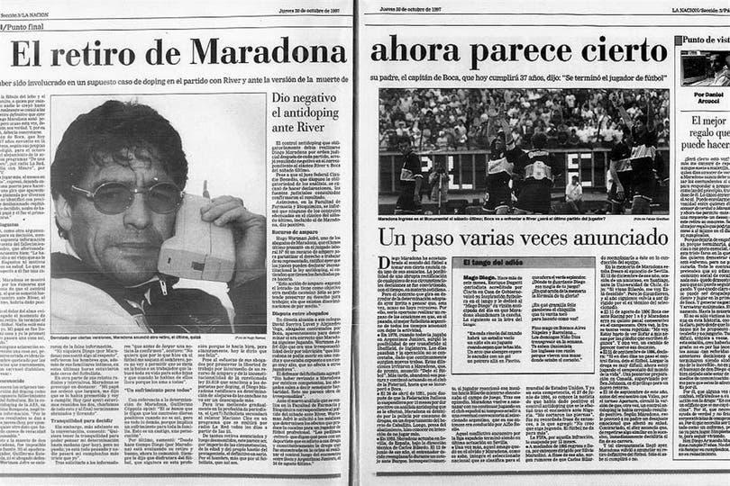 La tapa de LA NACION, cuando Maradona anunció que se retiraba. Foto: Archivo LA NACION