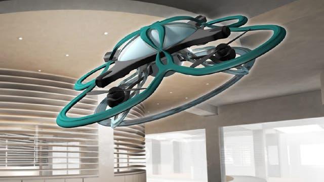 El dron vigilará con una cámara si hay alguien dentro de la oficina