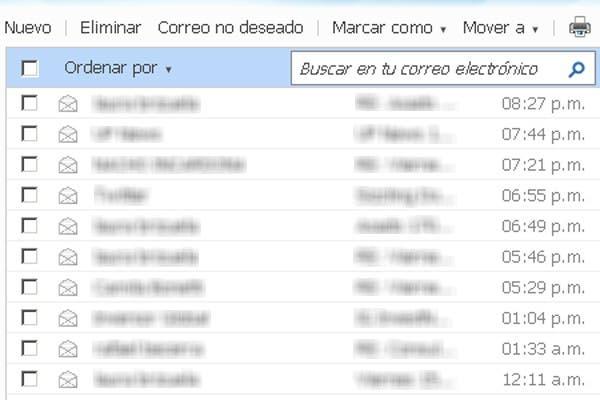 Las opciones básicas para trabajar en el servicio de correo web de Microsoft