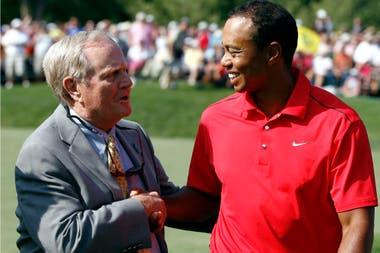 Jack Nicklaus y Tiger Woods, juntos en Dublin, en 2012