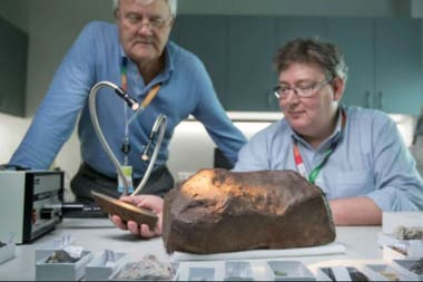 The Melbourne Museum's geologists were keen to discover that a meteorite arrived at their workplace