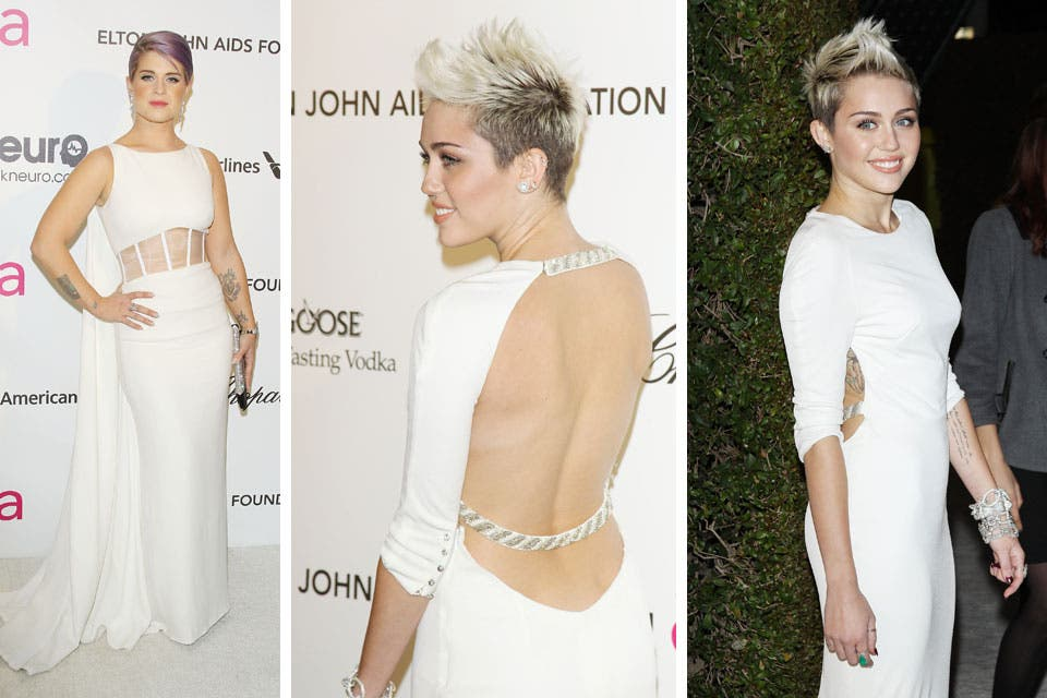 Total white: Kelly Osbourne y Miley Cyrus se divirtieron juntas en la fiesta de Elton John. Foto: /Getty Images