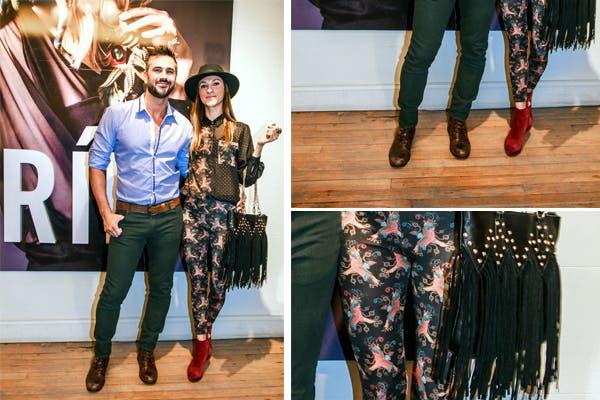 Leo Montero y María Laura Tedesco demostraron que son una pareja bien fashion en la presentación de la colección otoño-invierno de Ríe. ¿Dejarías que tu novio use esos chupines verdes?. Foto: Oui PR