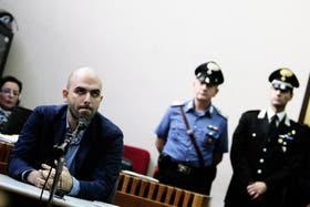 Roberto Saviano, en 2013, al testificar en un juicio contra la mafia, en Nápoles