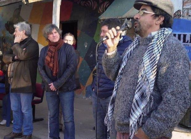 Boudou, Mariotto y Esteche, durante el acto cerca de La Plata